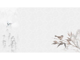 六张水墨花鸟中国风PPT背景图片