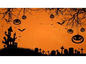 三张橙色万圣节PPT背景图片