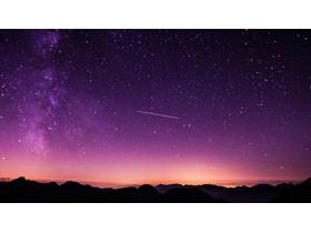 紫色星空PPT背景图片