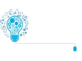 创意蓝色齿轮灯泡幻灯片背景图片