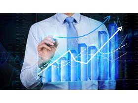 商务人物与数据图表PPT背景图片