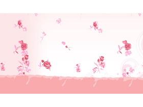 粉色唯美花卉图案PPT背景图片