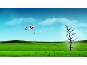 蓝天白云草地热气球PPT背景图片
