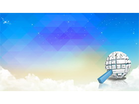 蓝色多边形键盘按键PPT背景图片