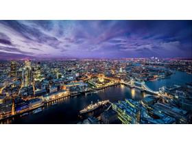 灯火通明的城市夜景PPT背景图片