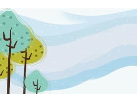 小树卡通PPT背景图片