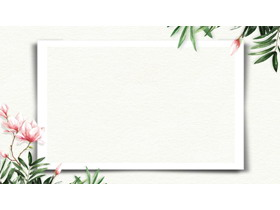 两张清新花鸟PPT边框背景图片