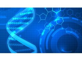 蓝色扁平化DNA生命科学PPT背景图片