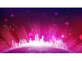 紫色星光城市PPT背景图片