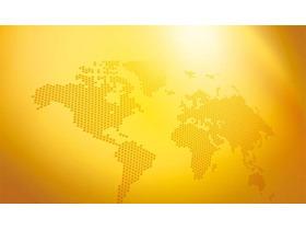 金色世界地图点阵图PPT背景图片