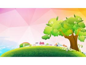 四张可爱卡通绿树草地PPT背景图片