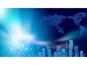 两张蓝色商务PPT背景图片