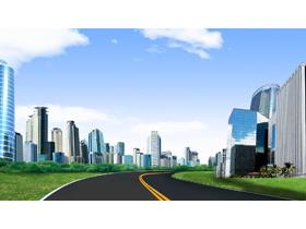 干净的城市街道PPT背景图片