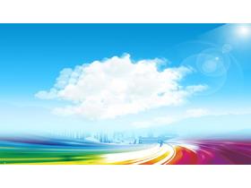 五张清新蓝天白云PPT背景图片