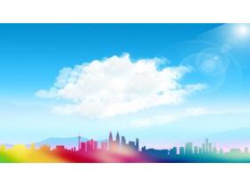 蓝天白云彩色城市剪影PPT背景图片