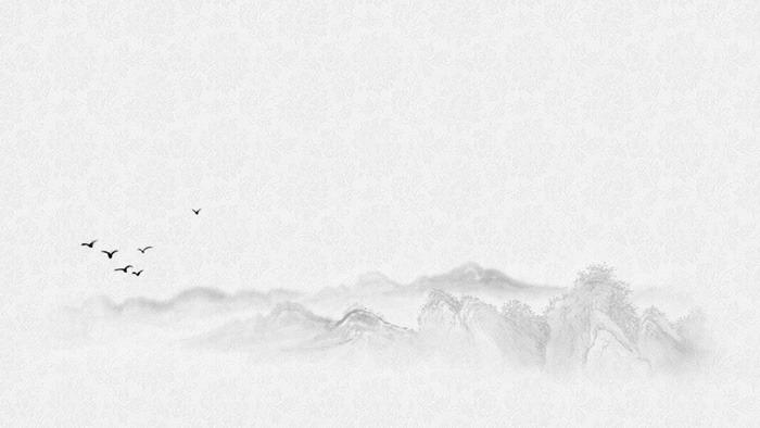 八张雅致水墨山水画PPT背景图片