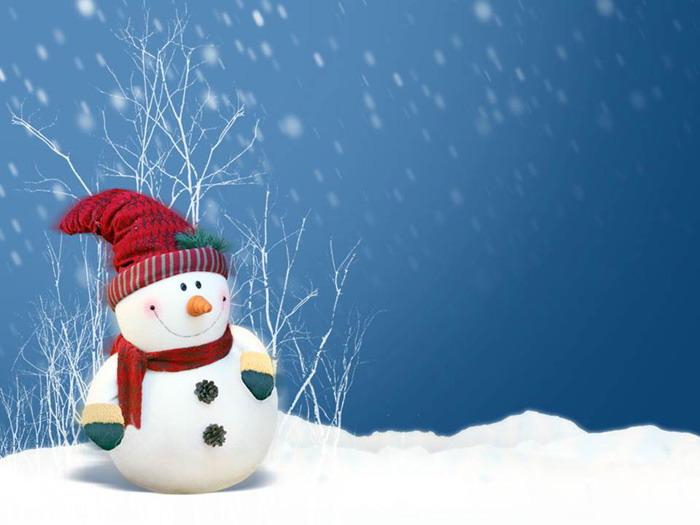 三张卡通雪人圣诞节PPT背景图片