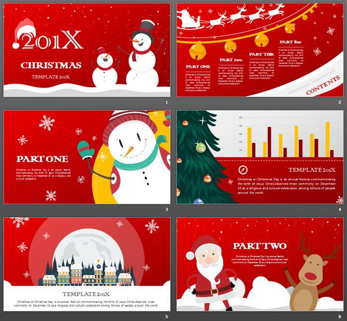 两个圣诞雪人背景的圣诞节PPT模板