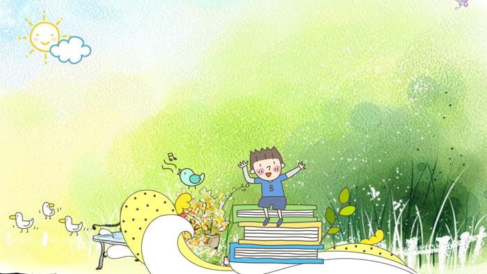绿色卡通儿童PPT背景图片