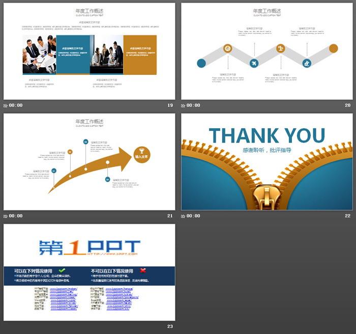 蓝色拉链背景的工作总结汇报PPT模板