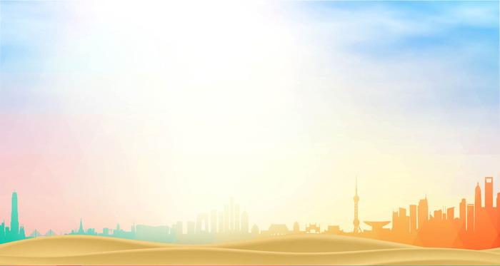 这是一套金色城市剪影PPT背景图片;-金色城市剪影PPT背景图片