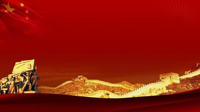 这是一张红色大气的,万里长城党徽党课PPT背景图片;-万里长城党
