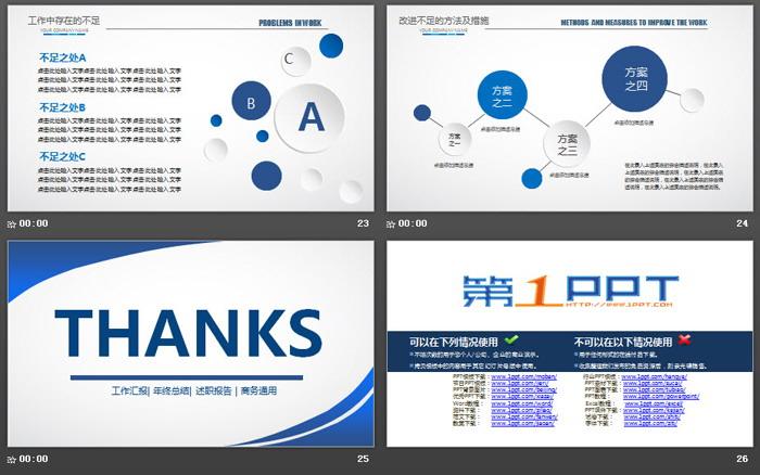 蓝色简洁工作总结计划PPT模板