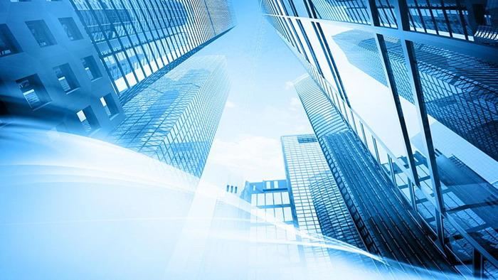蓝色高楼大厦幻灯片背景图片
