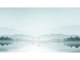 淡雅群山湖泊PPT背景�D片