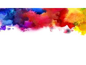 彩色水彩墨�EPPT背景�D片
