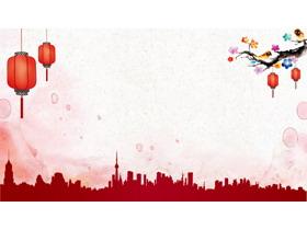 梅花灯笼背景的春节PPT背景图片
