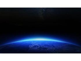 唯美蓝色地球PPT背景图片