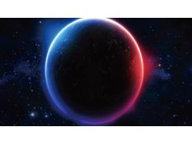 唯美星空星球PPT背景图片