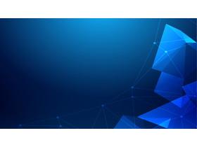 蓝色科技感多边形点线PPT背景图片
