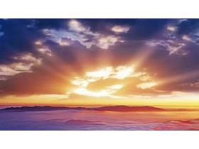 紫色日出云海PPT背景图片