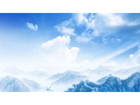 蓝天白云万里长城PPT背景图片