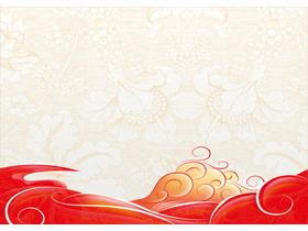 古典花纹波浪PPT背景图片