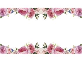 牡丹花卉PPT边框背景图片
