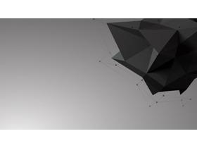 黑色立体多边形PPT背景图片