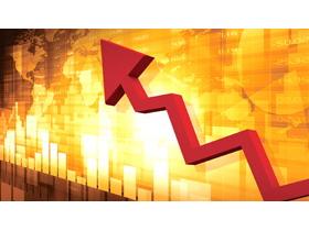金融数据分析红色箭头PPT背景图片