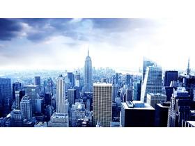 蓝色大气欧美建筑PPT背景图片
