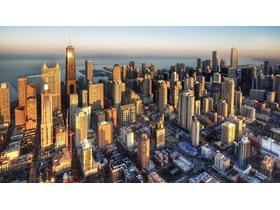 欧美夕阳沿海城市建筑PPT背景图片