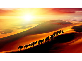 丝绸之路沙漠骆驼PPT背景图片
