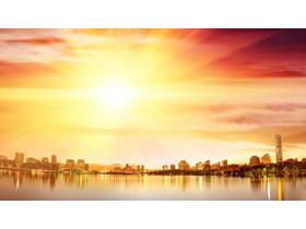 金色城市建筑PPT背景图片