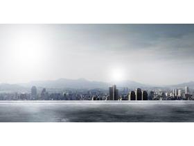 发达城市建筑群PPT背景图片