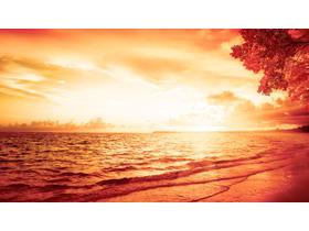 红色海洋PPT背景图片