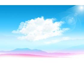 蓝天白云紫色群山PPT背景图片