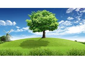 蓝天白云草地风车绿树PPT背景图片