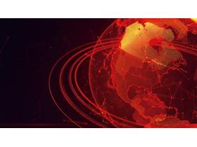 红色地球点阵图PPT背景图片