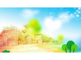 彩色卡通手绘PPT背景图片